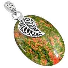 23.10cts natural green unakite 925 sterling silver deltoid leaf pendant r91189