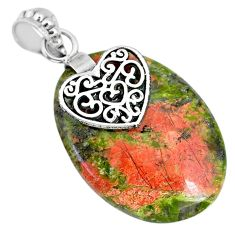 24.51cts natural green unakite 925 sterling silver heart pendant jewelry r91185