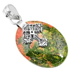 Clearance Sale- 21.02cts natural green unakite 925 sterling silver holy cross pendant r91198