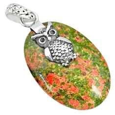 20.04cts natural green unakite 925 sterling silver owl pendant jewelry r91182