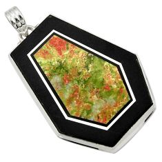 Clearance Sale- 61.63cts natural green unakite 925 sterling silver pendant jewelry d42784