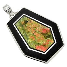 Clearance Sale- 54.05cts natural green unakite 925 sterling silver pendant jewelry d42786