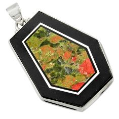 Clearance Sale- 58.46cts natural green unakite 925 sterling silver pendant jewelry d42793