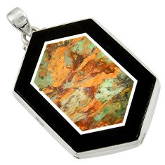 Clearance Sale- 61.63cts natural green unakite 925 sterling silver pendant jewelry d42814