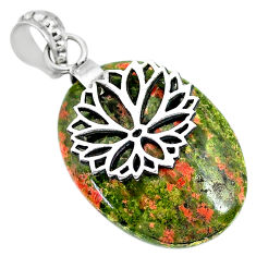 Clearance Sale- 23.10cts natural green unakite 925 sterling silver pendant jewelry r91181