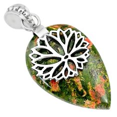 Clearance Sale- 23.23cts natural green unakite 925 sterling silver pendant jewelry r91184