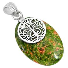 24.42cts natural green unakite 925 sterling silver pendant jewelry r91186
