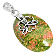 21.66cts natural green unakite 925 sterling silver pendant jewelry r91194