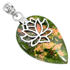 Clearance Sale- 23.10cts natural green unakite 925 sterling silver pendant jewelry r91195