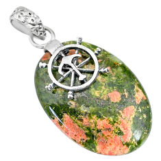 Clearance Sale- 20.58cts natural green unakite 925 sterling silver pendant jewelry r91197