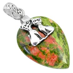 20.04cts natural green unakite 925 sterling silver two cats pendant r91193