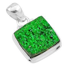 9.86cts natural green uvarovite garnet 925 silver handmade pendant t1951