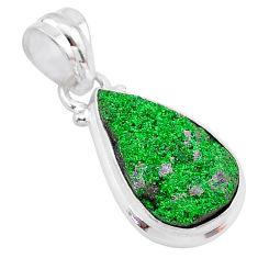 8.12cts natural green uvarovite garnet 925 silver handmade pendant t1962