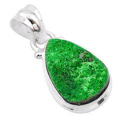 5.92cts natural green uvarovite garnet 925 silver handmade pendant t1966