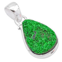 9.49cts natural green uvarovite garnet 925 silver handmade pendant t1974