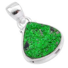 8.26cts natural green uvarovite garnet 925 silver handmade pendant t1976