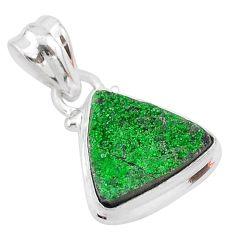 6.15cts natural green uvarovite garnet 925 silver handmade pendant t1984