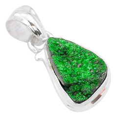 5.54cts natural green uvarovite garnet 925 silver handmade pendant t1987
