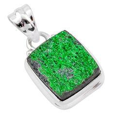 8.03cts natural green uvarovite garnet 925 silver handmade pendant t1994