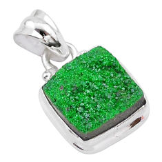7.67cts natural green uvarovite garnet 925 silver handmade pendant t2041