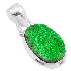 6.25cts natural green uvarovite garnet 925 silver handmade pendant t2042