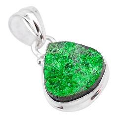 7.64cts natural green uvarovite garnet 925 silver handmade pendant t2043
