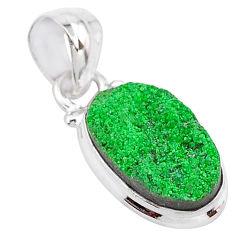 6.57cts natural green uvarovite garnet 925 silver handmade pendant t2045