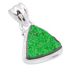 7.25cts natural green uvarovite garnet 925 silver handmade pendant t2054