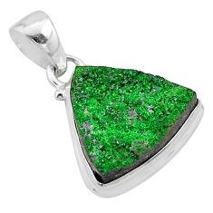 13.09cts natural green uvarovite garnet 925 sterling silver pendant t1924