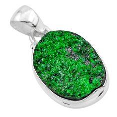 11.26cts natural green uvarovite garnet 925 sterling silver pendant t1927