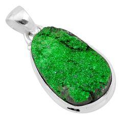 15.02cts natural green uvarovite garnet 925 sterling silver pendant t1928