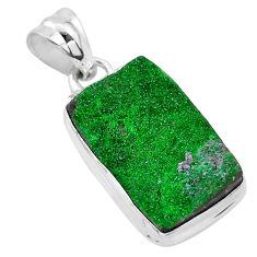 11.26cts natural green uvarovite garnet 925 sterling silver pendant t1929