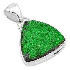 11.66cts natural green uvarovite garnet 925 sterling silver pendant t1931
