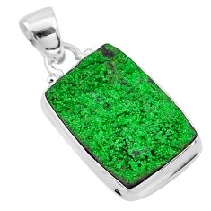 13.87cts natural green uvarovite garnet 925 sterling silver pendant t1932
