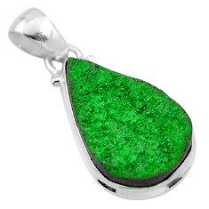14.12cts natural green uvarovite garnet 925 sterling silver pendant t1934