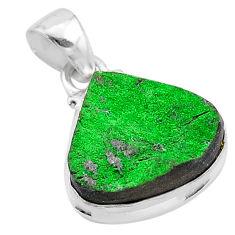 12.60cts natural green uvarovite garnet 925 sterling silver pendant t1935