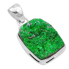 13.99cts natural green uvarovite garnet 925 sterling silver pendant t1937