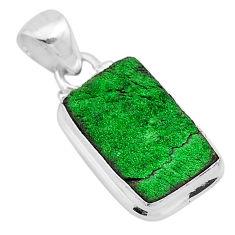 11.25cts natural green uvarovite garnet 925 sterling silver pendant t1938