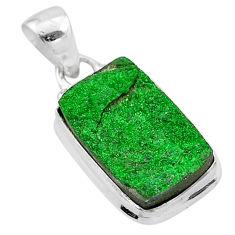 10.78cts natural green uvarovite garnet 925 sterling silver pendant t1949