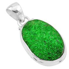 13.13cts natural green uvarovite garnet 925 sterling silver pendant t1953