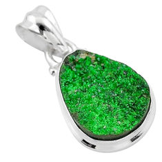 11.69cts natural green uvarovite garnet 925 sterling silver pendant t1955