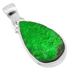 12.62cts natural green uvarovite garnet 925 sterling silver pendant t1960
