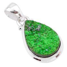 10.02cts natural green uvarovite garnet 925 sterling silver pendant t1968