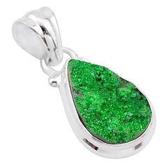 6.26cts natural green uvarovite garnet pear 925 sterling silver pendant t2048