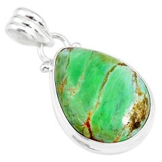 12.22cts natural green variscite 925 sterling silver handmade pendant r83581