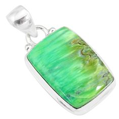 13.15cts natural green variscite 925 sterling silver handmade pendant r83582