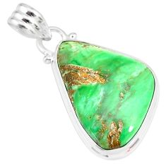13.67cts natural green variscite 925 sterling silver handmade pendant r83583