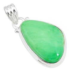 14.65cts natural green variscite 925 sterling silver handmade pendant r83586