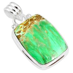 14.72cts natural green variscite 925 sterling silver handmade pendant r83587