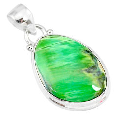 14.72cts natural green variscite 925 sterling silver handmade pendant r83588